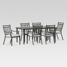 Fairmont 7 pc Dining set.  Bring the indoors outside with the Fairmont Dining Table &  Dining Chairs . The casual and stylish collection marries both comfort and design.  The dining table top is a slatted frame design. The set includes 6 chairs in fully powder coated to provide a durable paint finish.  These dining chairs are stackable for quick and easy storage. Cushions included.