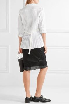 Sacai - Pleated Poplin Shirt - White
