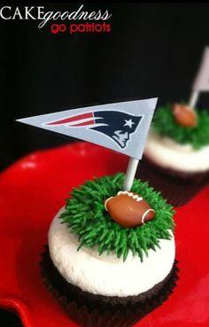 Patriot's Cupcakes. Football cupcakes. Super Bowl cupcakes
