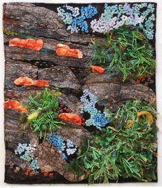 Grietje van der Veen: Watching the mushrooms grow Ausstellung 'Textile News: Langeweile. Textile News, Textile Art, Textiles, Stepping Stones, Stuffed Mushrooms, Creations, Van, Outdoor Decor, Plants