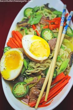 Bacon, Butter, Cheese & Garlic: Crispy Pork Ramen with Japanese Ramen Eggs...so darn tasty!