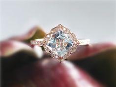 Aquamarine Ring 14K Rose Gold Cushion Cut 7mm Aquamarine Halo Diamond Ring Wedding Ring Engagement Ring Promise Ring Anniversary Gift by GembySheri on Etsy https://www.etsy.com/listing/243944331/aquamarine-ring-14k-rose-gold-cushion