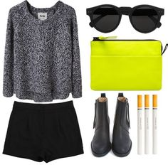new get up    thepolyvorecollection:    #72 by tristanjani featuring round frame sunglasses  Acne cropped shirt / Acne shorts, $96 / Acne black leather booties / Acne neon clutch, $245 / Illesteva round frame sunglasses / Be Goody Pencil No Smoking Cigarette Hb