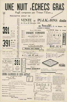 """Tristan Tzara """"Une nuit d'échecs gras"""", in 391, n°14, 1920, page 3."""