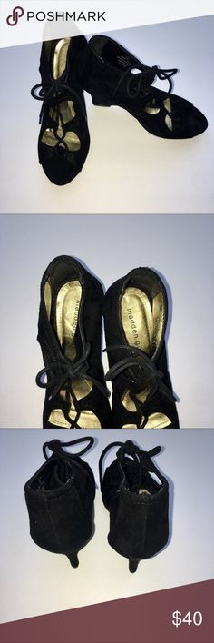 Madden Girl Lace Up Wedges Open Toe These Madden Girl Lace Up wedges have a suede like finish. They are in good used condition with slight toe impressions. The soles have some wear and a sharpie mark. Madden Girl Shoes Wedges