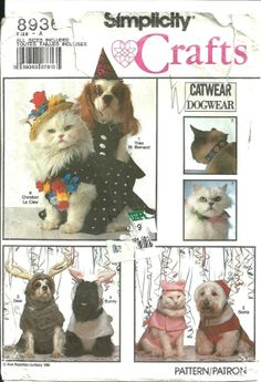 SIMPLICITY 8936  DOG  CAT costumes and collars. by bbmanning, $8.95