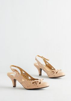 A Heel After Your Own Heart in Beige. These vivacious vintage-inspired heels by Bettie Page really speak to your fashion sensibilities. #tan #modcloth