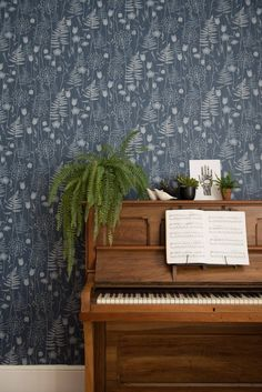 Charlotte's Garden in 'Inkwell' by Hannah Nunn - a wallpaper inspired by the flowers in bloom in the Bronte Parsonage garden around the time of Charlotte Bronte's birthday. Garden Wallpaper, Nature Wallpaper, Fern Wallpaper, Charlotte Bronte, Bronte Parsonage, Old Pianos, Paper Light, Home, Ink