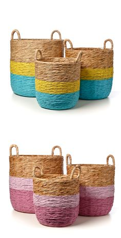 paint up baskets like this - Adairs Kids Nash Woven Baskets - Aqua & Pink Painted Baskets, Painted Wicker, Spray Paint Wicker, Woven Laundry Basket, Woven Baskets, Sisal, Adairs Kids, Dream Kids, Girl Decor