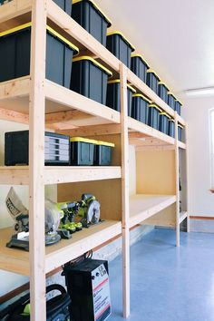 DIY Garage Shelves — Modern Builds DIY Garage Shelves — Modern Builds,Werkzeug, Werken, Werkstatt The Ultimate Garage Storage / Workbench Solution. By: Mike Montgomery Mike Montgomery, Garage Organization Tips, Garage Storage Solutions, Diy Garage Shelves, Diy Storage Room Shelves, Building Shelves In Garage, Storage Ideas For Garage, Garage Shelving Plans, Storage Room Ideas