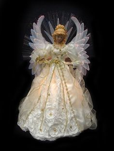 Felices Pascuas Collection 19 inch Lighted Cream and Gold Fiber Optic Angel Christmas Tree Topper Angel Christmas Tree Topper, Angel Ornaments, Christmas Angels, Xmas Tree, Christmas Store, Christmas Fun, Christmas Decorations, Christmas Ornaments, Angel Decor