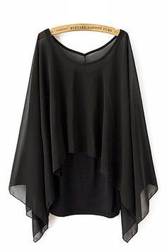 Black O-neck Irregular Chiffon Casual T-shirt With Vest