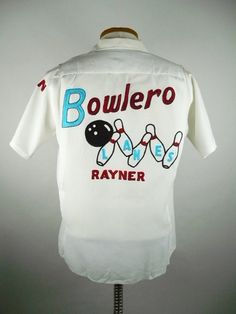 1950s Bowlero Lanes men's bowling shirt King Louie White Rayon