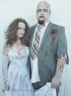 Do it yourself zombie groom halloween costume idea find a thrifted zombie bride and groom couple costume halloweencoustumescouples solutioingenieria Choice Image
