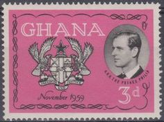 Prince Philip of England & Coat of Arms Ghana