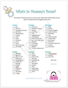 Printable Baby Shower Games. We could have some of the leaders bring their purses as well and have a contest!
