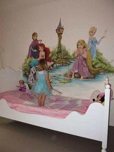 Princess Mural, Disney Princess Room, Kids Room Murals, Art Wall Kids, Wall Murals, Girls Room Paint, Girl Room, Disney Baby Rooms, Disney Mural