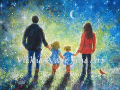 Mama Papa zwei Töchter Kunstdruck Familie malen