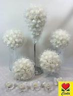 Artificial Flower White Foam Rose Flowers Teardrop Bridal Wedding Bouquet Set