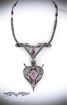 """""""Allure"""" – Elegant Six-in-one Pendant Necklace Set w/ Lepidolite & Amethyst in Fine Silver features three separate pendants & two chains that can be worn in a variety of ways, at least six separate possibilities or as unlimited as your imagination! Wire Necklace, Wire Wrapped Earrings, Wire Wrapped Pendant, Wire Jewelry, Necklace Set, Pendant Jewelry, Jewelry Art, Silver Jewelry, Fashion Jewelry"""