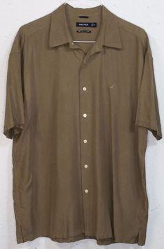 Nautica Easy Care Silk Blend Mens Light Brown Short Sleeve Button Down Shirt XL…