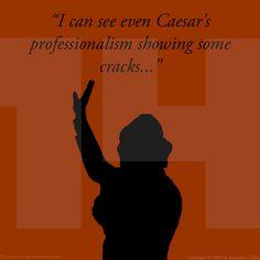 The Hunger Games: #CATCHINGFIRE  Eu posso ver mesmo profissionalismo de César mostrando algumas rachaduras...