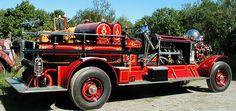 Restored 1925 Ahrens-Fox fire engine at Firefly Restoration.