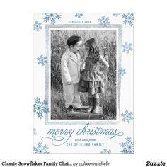 Classic Snowflakes Family Christmas Photo Card