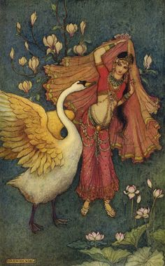 Art by Warwick Goble (1913) from the book, INDIAN MYTH AND LEGENDS.