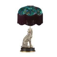 Tisch Petrol Luxury table lamp set featuring the Florika print made of British velvet with chainette fringing. Paired here with the charming cheetah porcelain base Table Lamp Base, Table Lamp Sets, Lamp Bases, Animal Lamp, Luxury Table Lamps, Chandelier, Pendant Lamps, Pendant Lights, Luxury Lighting