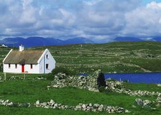 Great BIG Canvas The Irish Image Collection Poster Print entitled Connemara, Co Galway, Ireland, Cottages Near Clifden Irish Landscape, Ireland Landscape, Irish Images, Irish Cottage, Cottages By The Sea, Am Meer, Poster Size Prints, Photo Mugs, Beautiful Places