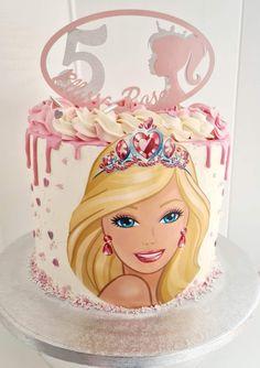 buttercream Barbie birthday cake with custom topper. Barbie Theme Party, Barbie Birthday Cake, Barbie Cake, Celebration Cakes, Birthday Celebration, Birthday Parties, 5th Birthday, Birthday Cheesecake, Pastel Party