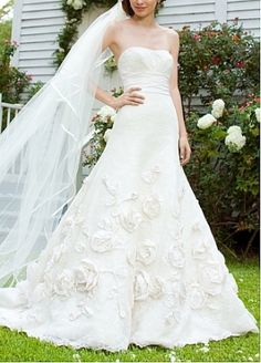 Elegant Exquisite Taffeta & Lace A-line Strapless Wedding Dress by DRESSILYME626