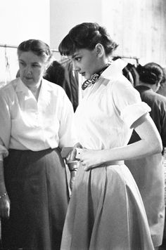 Audrey Hepburn photographed by Charlotte Brooks on set of Roman Holiday, 1952.