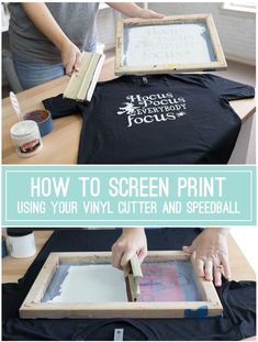 How to Screen Print Using Your Vinyl Cutter, Oracal and Speedball {VIDEO TUTORIAL} Hey, HTV fans, have you tried screen printing with your vinyl cutouts rather than using HTV? It's easy and only Wine Bottle Crafts, Mason Jar Crafts, Mason Jar Diy, Diy Home Decor Projects, Vinyl Projects, Diy Projects To Try, Circuit Projects, Decor Crafts, Project Ideas