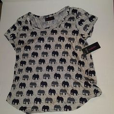 NWT ~ Elephant Ella Shirt Loose & Cozy Ivory Juniors XL New with tags for the Elephant Lover! This top is beyond cute! Gray with blue elephants. Great for all occasions! Annabelle Tops Tees - Short Sleeve