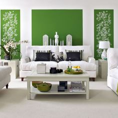 White on bright green with floral accents - color palette