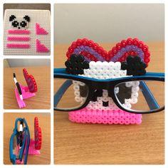 Glasses holder perler Hama fuse beads panda heart Easy Perler Bead Patterns, Perler Bead Templates, Diy Perler Beads, Perler Bead Art, Hama Beads Kawaii, Hamma Beads 3d, Hamma Beads Ideas, Pearler Beads, Fuse Beads