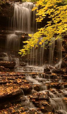 'Autumn Waterfall', New Weston, Ohio; photo by Maria Suhr