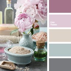 #Farbberatung #Stilberatung #Farbenreich mit www.farben-reich.com ashen rose color, ashy pink, beige, color combination for spring, color opal, delicate pink, graphite gray, gray, purple, sand, shades of magenta, shades of pink, spring colors.