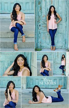 beautiful senior pictures downtown kansas city with teal doors by thrive seniors - Senior Girl Poses - Summer Senior Pictures, Cute Poses For Pictures, Senior Photos Girls, Senior Picture Outfits, Senior Girls, Downtown Senior Pictures, Beautiful Pictures, Senior Picture Poses, Photography Senior Pictures