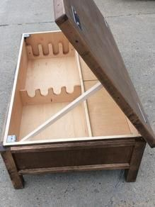 Hidden Gun Safe Coffee Table - Hidden Gun Storage Coffee Table From the Rustic Acre In College. 9 Unusual Hidden Gun Safes to Keep Your Firearms Secure. Hidden Gun Safe, Hidden Gun Storage, Weapon Storage, Diy Storage, Storage Ideas, Table Storage, Hidden Weapons, Solid Wood Coffee Table, Diy Coffee Table