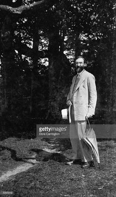 British biographer and literary critic, Lytton Strachey at Ham Spray, Wiltshire, the home he shared with painter, Dora Carrington andassociated with the 'Bloomsbury Group' circle of friends.