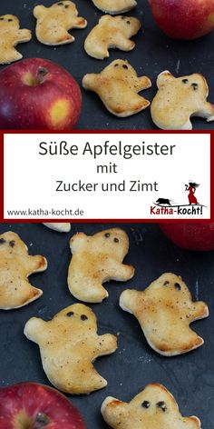 Süße Apfelgeister mit Zucker und Zimt These sweet apple spirits with sugar and cinnamon are made very quickly with a simple yeast dough. Perfect as a creepy little Halloween snack for daycare and scho Halloween Snacks, Halloween Party Appetizers, Halloween Cookies, Halloween Kids, Halloween 2020, Biscuits Halloween, Baby Food Recipes, Dessert Recipes, Pastry Recipes