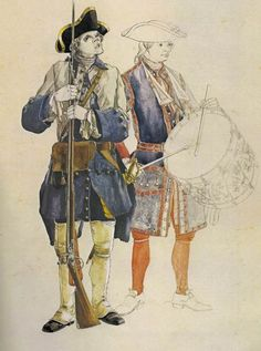 Typical uniform of a private of the Colonial Compagnies Franches de la Marine at the beginning of the Seven Years' War – Copyright: Michel Pétard