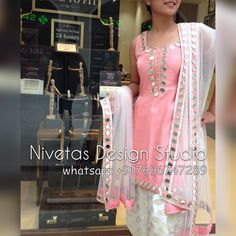 pinterest : @nivetas Beautiful mirror work  punjabi salwar suit acebook : https://www.facebook.com/punjabisboutique  Instagram: https://www.instagram.com/nivetas.design.studio