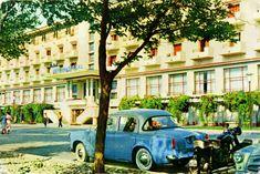 "RetROmania The Long Road 1961 postcard from Romania, Mamaia, featuring ŠKODA 440 ""Spartak"", a motorbikie and a car of the corps diplomatique, which is. Black Sea, Romania, Cities, Classic Cars, Buildings, Coast, Street View, Retro, Nostalgia"