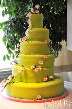 Fondant covered round layer wedding cake with asymmetrical placement. RogersPhoto.com