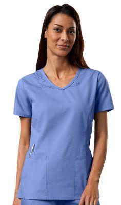 f805881eb63 Cherokee Workwear Women's Embroidery V-Neck Solid Scrub Top Cherokee  Uniforms, Cherokee Scrubs,