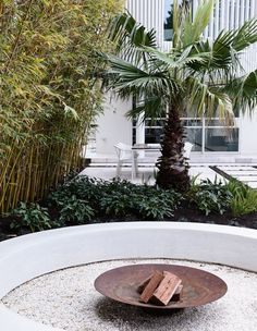 Back to the Future House by Doherty Design Studio & Project Feature & The Local Project Landscaping Tools, Backyard Landscaping, Fire Pit Designs, Pool Designs, Outdoor Fire, Outdoor Living, Landscape Design, Garden Design, Built In Seating